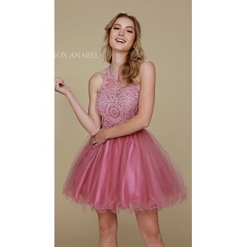 Short Rose Homecoming Dress Poofy A Line Tulle Skirt Halter Neck