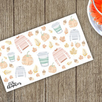 Fall Watercolor Icons Half Sticker Sheet