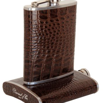 Brizard Croco Pattern Tobacco Leather Stainless Steel 6oz Hip Flask
