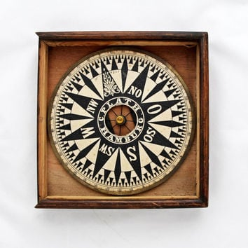 Antique German Compass Rose in Original Box / WW1 War Navy Compass Rose C. Plath Hamburg