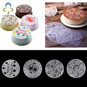 Eco Friendly High Quality 4 Styles Flower Heart Spray Stencils Birthday Mold Decorating Bakery Tools DIY