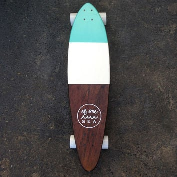 Hand-Crafted Skateboard in Minty Blue
