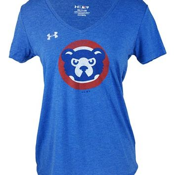 Women's Chicago Cubs Under Armour Heathered Royal Cooperstown Collection 1990's Logo Performance Tri-Blend V-Neck T-Shirt
