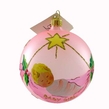 Laved Italian Ornaments BABY GIRL IN BLANKET PINK BALL Glass Cradle Swing 936359
