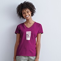 Grace & Truth  I Run on Coffee & Grace V-Neck Christian Cherished Girl Bright T Shirt