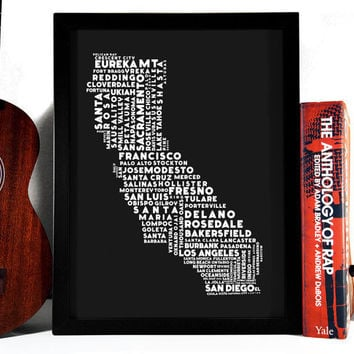 Cities Of California Typography Collage, 8 x 10 Los Angeles San Francisco San Diego