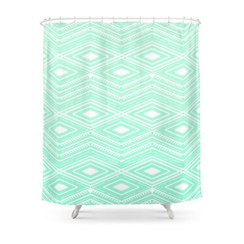 Society6 Hipster Mint Green Arrows Aztec Tribal Pattern Shower Curtains