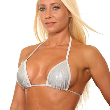 Silver Metallic Basic Triangle Bikini Top Stripper Clothing