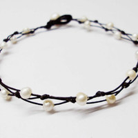 4mm white pearl wax cord Anklet