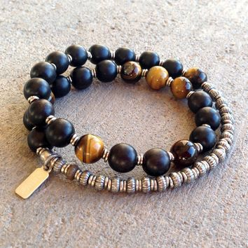 Strength and Prosperity, Ebony and Tiger's Eye 27 Beads Unisex Mala Bracelet