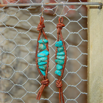 Wrapped Brown Leather Earrings with Genuine Turquoise, Dangle Earrings, Sterling Silver Earwires