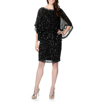 Patra Women's Black Hand-beaded Silk Kimono Sleeve Dress