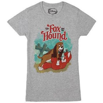 The Fox And The Hound Title Disney Licensed Women's Junior T-Shirt - Grey