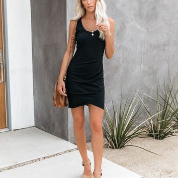Synergy Ruched Jersey Tank Dress - Black