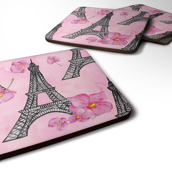 Watercolor Pink Flowers and Eiffel Tower Foam Coaster Set of 4 BB7511FC