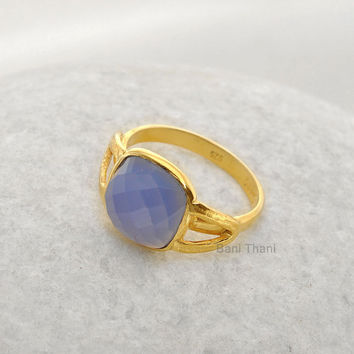 Dark Blue Chalcedony Cushion 10mm Gemstone Micron Gold Plated Textured 925 Sterling Silver Bezel Ring Jewelry - Gift Ring - 3004