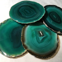Agate Coaster - Green Agate Coasters - Brazilian agate - Natural Edge Agate Coasters - Crystal Geode Slice - Wedding Birthday Hostest Gift