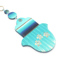 Wall decor Hamsa, Good fortune Hamsa in blue, white and turquoise, Blessing and luck - Polymer clay Hamsa,