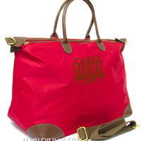 Monogrammed Red Weekend Travel Bag | Preppy Custom Tote|Marley Lilly