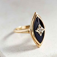 Vintage 1950s Onyx + Diamond Ring- Gold One