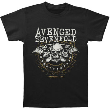 Avenged Sevenfold Men's  Three Skulls Slim Fit T-shirt Black Rockabilia