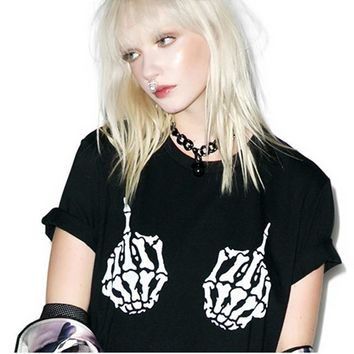 Punk Style Hip Hop Women T Shirts Summer Short Sleeve Shirt Female T-Shirt Rock Skull Skeleton Hand Print Gothic Party Tshirt