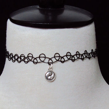 Yin Yang Symbol Black Tattoo Choker Necklace