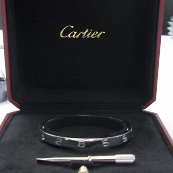 Cartier Love Bracelet White Gold Size 17