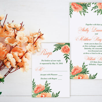 "Watercolor Wedding Invitation Card - Floral Wedding Invitation RSVP Card ""Lavish Garden"" Orange Peach Wedding Invitation Watercolour Wedding"