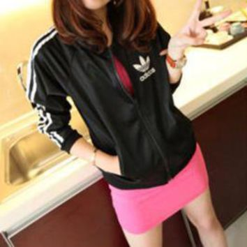 Adidas Women Sport Casual Multicolor Long Sleeve Zip Cardigan Hooded Sunscreen Clothes Coat