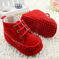 Baby Girl Spring and Autumn Warm Red Cotton shoes
