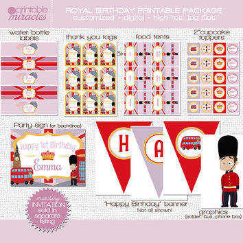 London birthday decoration, UK party supplies, Royal celebration, England theme birthday package for girls / red, lavender
