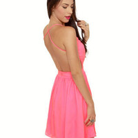 Sexy Neon Pink Dress - Backless Dress - Hot Pink Dress - $46.00
