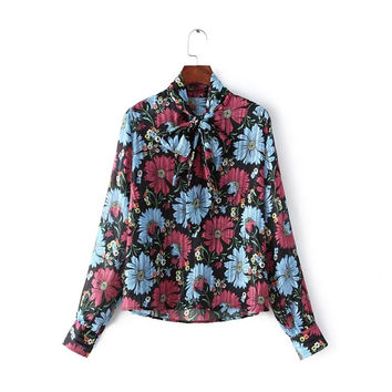 Floral Print Stand Bow Collar Long Sleeve Chiffon Blouse