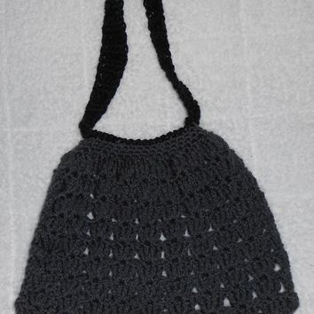 Handmade Charcoal GREY  black Crochet Handbag purse bag hobo shell dark gray - $25.00 - Handmade Crochet, Crafts and Unique Gifts by IsabellaeRia