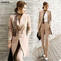 2018Autumn Womens 2 Piece Pant Suits Women Casual Office Business Suits Formal Work Wear Sets Uniform Styles Elegant Pant Suits