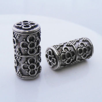 Two 17mm 925 Sterling Silver Bali Granulation and Wire Work Beads, Sterling Silver Tube Beads, 925 Sterling Silver Bali Beads