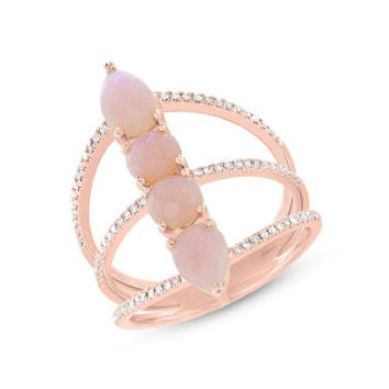 0.21ct Diamond & 1.85ct Pink Opal 14k Rose Gold Lady's Ring