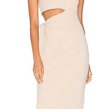 Bow To Me Beige One Shoulder Cut Out Tie Bodycon Midi Dress