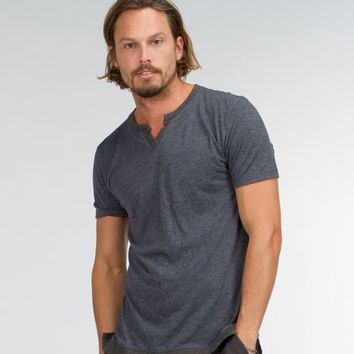Twisted Seam Notch Neck Tee - New Arrivals - Featuring - Mens