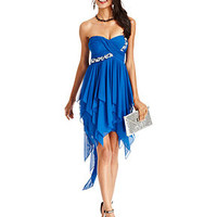 City Studios Juniors Dress, Strapless Rhinestone Handkerchief-Hem - Juniors Dresses - Macy's