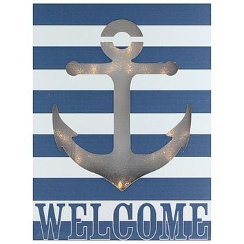 "10"" Lighted LED Decorative Navy Blue and White Striped ""Welcome"" Sparkling Gold Anchor Wall Art"