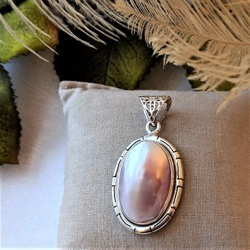 Artisan Large Sterling Silver Pink Mother of Pearl Pendant