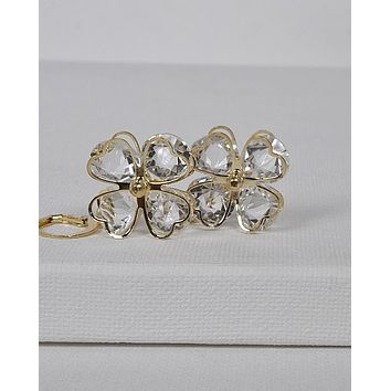 3D Floral Pattern Crystal Studded Drop Earrings id.31437