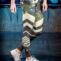 Black Color Block Camouflage Print High Waisted Workout Sports Yoga Leggings Pant