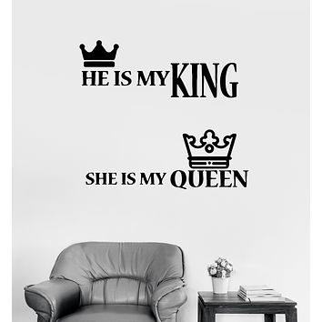 Wall Decal King And Queen Inscriptions Love Words Crown Vinyl Sticker (ed1334)