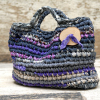 Crocheted basket bag in grey and purple --- Fabric handbag with a large wooden button