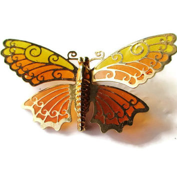 Vintage 1975 Signed Avon Luminous Wings Goldtone Faux Plique a Jour Butterfly Brooch Pin