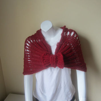 Capelet with bow, shrug, shawl, infinity scarf, cowl, poncho, Burgundy capelet, scarf, wrap scarf, stole