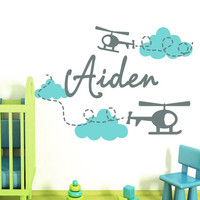 Nursery Wall Decals Personalized Name Decal  Baby Boy Bedroom Room Plane Airplane Clouds Vinyl Sticker Home Decor Murals MA280